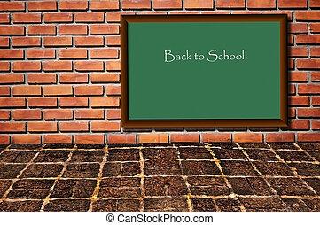 學校, 黑色, 板, 如, brickwall, 圖案