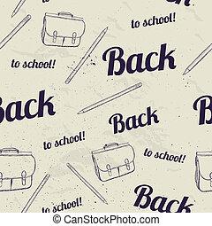 學校, pattern., 背, seamless
