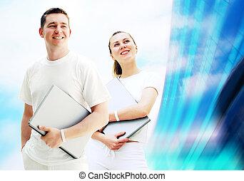 學生, 事務, 人們, 年輕, 二, 筆記本電腦, 背景, 對, 或者, 愉快