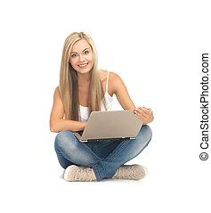 學生, 女孩, 由于, 便攜式電腦