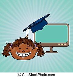 學生, 女孩, 膝上型, 畢業, 想法
