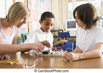 學童, 以及, 他們, 老師, 在, a, 科學課