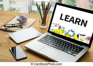 學習, 學習, 教育, 知識, 以及, 知識, 訓練, e 學會, 技能, 開動