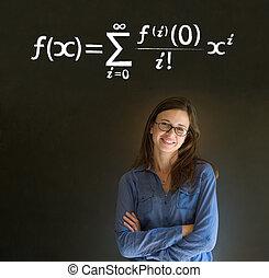 學習, 數學, 或者, 數學, 老師, 由于, 粉筆, 背景