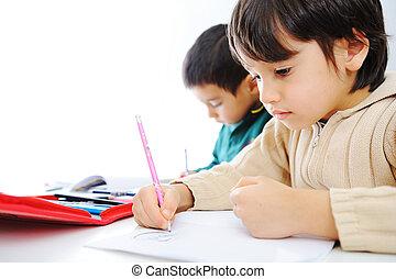 學習, 過程, 漂亮, 孩子