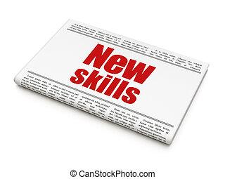 學習, concept:, 報紙標題, 新, 技能