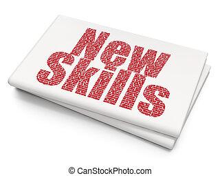 學習, concept:, 新, 技能, 上, 空白, 報紙, 背景