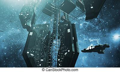 宇宙船, scifi, 駅, 印象的, スペース