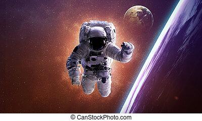 宇宙飛行士, 中に, 外の, space., 要素, の, これ, イメージ, 供給される, によって, nasa.