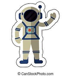 宇宙飛行士, 影, スーツ, 検証, スペース