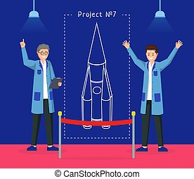 宇宙飞船, 规划, illustration., 火箭, 空间探究, 显示, 专家, 快乐, characters., 航天器, 矢量, 设计, 研究者, 草案, 工程师, 卡通漫画, 实验, 提出