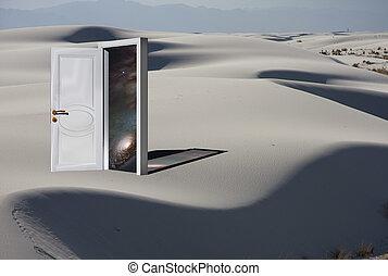 宇宙, 戸口, 砂, 白, 砂漠