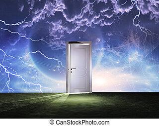 宇宙, 戸口, 空, 前に