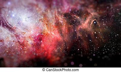 宇宙, 装满, 带, 星, 星云, 同时,, galaxy.