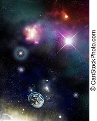 宇宙, -, starfield, 以及, 星云