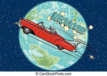 宇航員, 在, an, 電的汽車, 在上方, the, 行星地球