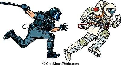 宇航員, 警察, 暴亂, 短棍
