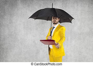 ∥守る∥, ビジネスマン, 傘, データ, 下に