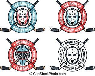 守門員, 曲棍球, 橫渡, 輪, 棍, 面罩, retro, 帶子, 標識語