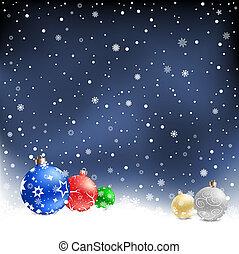 安っぽい飾り, クリスマス, 背景, 夜