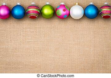 安っぽい飾り, ボーダー, バーラップ, クリスマス, お祝い