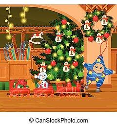 安っぽい飾り, 古い, ポスター, 花輪, house., スケッチ, 招待, 木, おもちゃ, 家, garland., 他, パーティー, 休日, クリスマス, 保温カバー, お祝い, イラスト, 漫画, card., クローズアップ, furnishings., 中, ベクトル