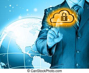 安全である, オンラインで, 雲, 計算, 概念, ∥で∥, ビジネス男