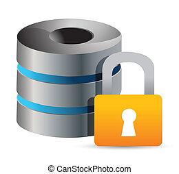 安全である, コンピュータ, データベース, illustrati