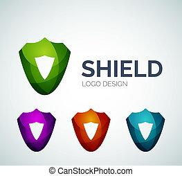 安全である, 保護, ロゴ, デザイン, 作られた, の, 色, 小片