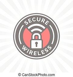 安全である, 無線, アイコン, ∥で∥, ナンキン錠, そして, wifi, シンボル, stamp.