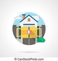 安全である, 色, 住宅, 細部, 私用, ベクトル, アイコン