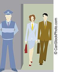 安全な建物に歩いているビジネスマンと女性実業家