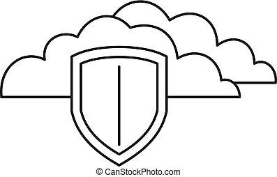 安全に保たれた, スタイル, アイコン, 雲, アウトライン, データ