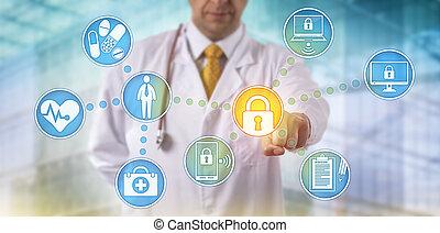 安全に保つこと, ネットワーク, 装置, 横切って, 医者, データ