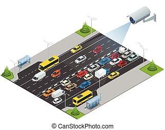 安全照像机, detects, the, 運動, ......的, traffic., cctv, 安全照像机, 上,...