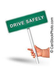 安全, ドライブしなさい, concept., 運転, 安全である