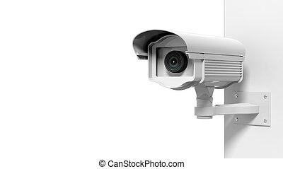 安全, 监视照相机, 隔离, 在怀特上, 背景