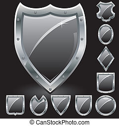 安全, 符号, 武器, 黑色, 盾, 描述, 上衣, 放置, 矢量, 图标