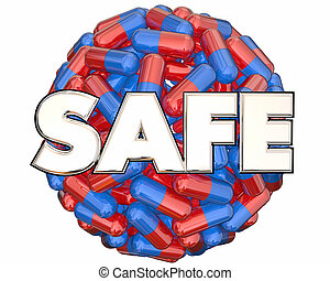 安全, 藥丸, 膠囊, 醫學, 藥物處理, 測試, 3d, 插圖