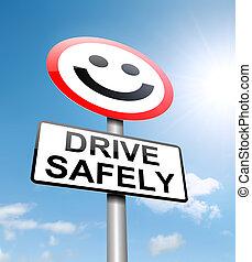 安全, 開車, concept.