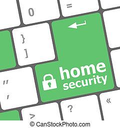 安全, concept:, コンピュータキーボード, ∥で∥, 家 保証, アイコン, 上に, 入りなさい, ボタン, 背景