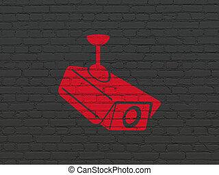 安全, concept:, 中國中央電視台照像機, 上, 牆, 背景