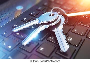 安全, concept:, 鑰匙, 上, 膝上電腦 鍵盤