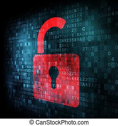 安全, concept:, 锁, 在上, 数字, 屏幕
