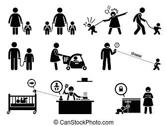 安全, equipment., 監控, 孩子
