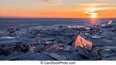安大略, 冬季, 结束, 湖, 日落, 阐明