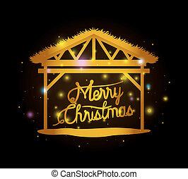 安定した, カード, メリークリスマス, まぐさおけ