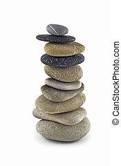 安定性, バランスをとられた, 小石, -, 山