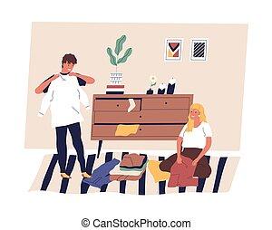 安排, 一起。, 人们, cleanup, 家庭, 卡通漫画, 衣服, 妻子, room., 家务劳动, 套间, 夫妇, 折叠, 丈夫, 或者, 快乐, 组织, 矢量, clothes., 分类, 发生地点, 描述