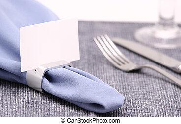 安置卡片, 上, 餐巾戒指